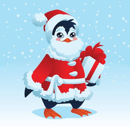 Christmas Card. Cute Penguin in costume of Santa Claus with a Christmas gift isolated on a snow background. Vector illustration in flat cartoon style with gradients for your design, artworks and print. New Year Penguin.