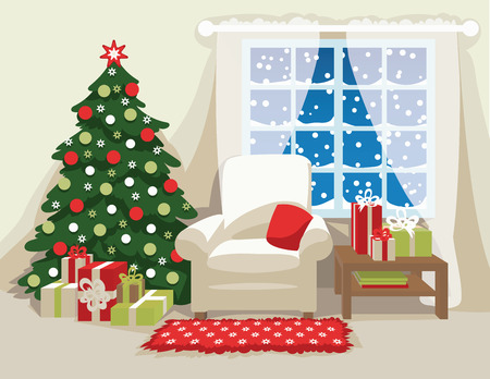 Christmas room interior. Comfortable armchair with pillow, decorated Christmas tree, carpet with stars, gifts in colorful boxes and snowfall in the window. Vector illustration. Scene for your artwork, design and prints.