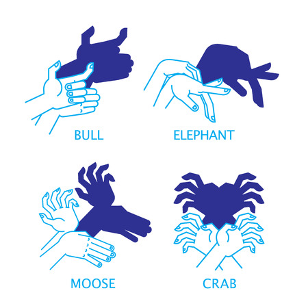 shadow puppets: Shadow Hand Puppets. Bull, Elephant, Moose and Crab. Illustration