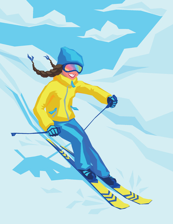 Vector illustration of happy girl on winter resort skiing there. Female on the ski on the background of snowy landscape. Young woman skier goes down the mountain slope. Illustration