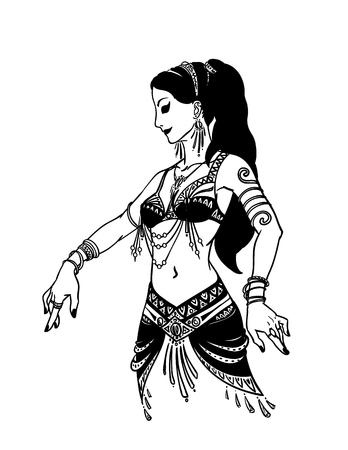 Bailarín tribal o bailarina del vientre de la muchacha en estilo dibujados a mano. Ilustración vectorial de la bella mujer bailando en un fondo blanco para su diseño. Feminidad.