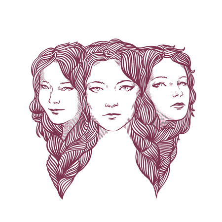 Triple portrait of beautiful young girls woven with long curly hair.