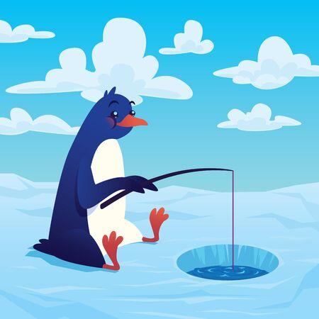 Cute cartoon penguin fisher fishing with a fishing rod.