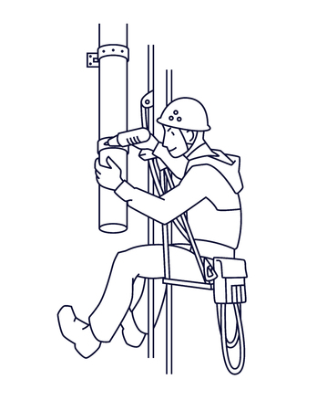 Industrial climber mends drainpipe. Rope Access. Vector.