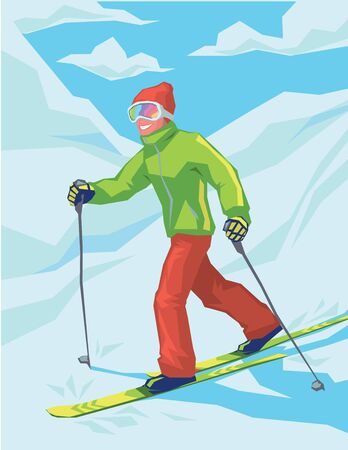 Young active man skiing in mountains. Illustration