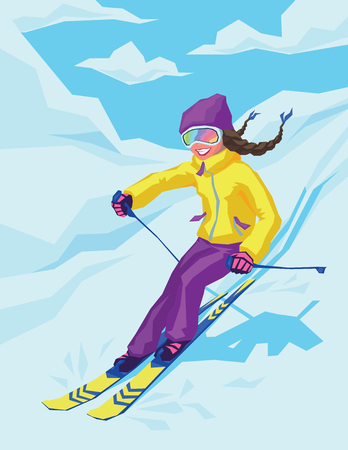 Young active woman skiing in mountains. Ilustrace