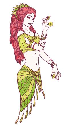 Vector Illustration of Tribal Dancer or Indian Dancer Girl in Hand Drawn Style.