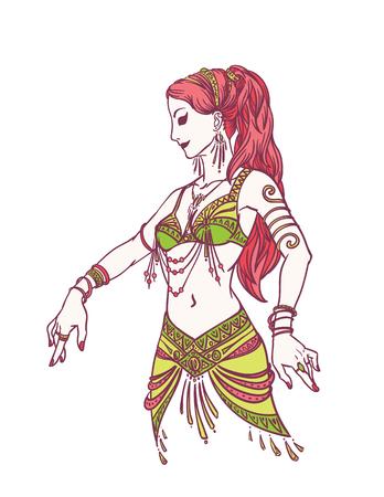Tribal Dancer or Belly Dancer Girl in Hand Drawn Style. Vettoriali