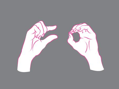 poquito: Gesto. Una pequeña señal. Dos manos femeninas que muestran algunos de algo.