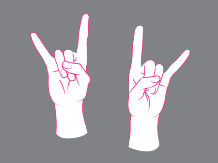 Gesture. Rock sign. Two female hands with index and little finger up. Illustration