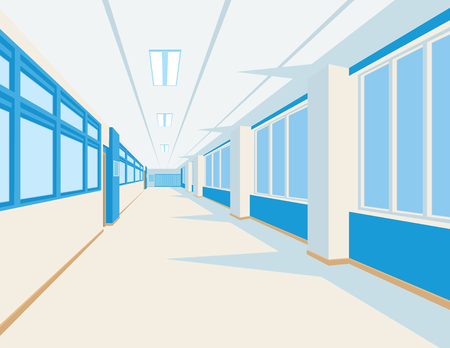 Interior of school hall in flat style. Vector illustration of university or college corridor with windows. Vettoriali