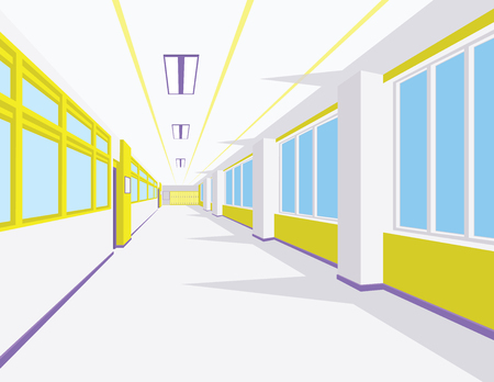 Interior of school hall in flat style. Vector illustration of university or college corridor with windows. Illustration