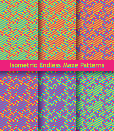 Set of colorful isometric maze patterns. Seamless ornament. Bright contrasting colors. Illustration
