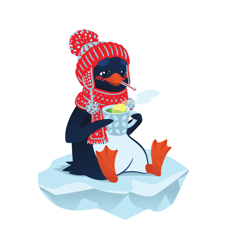 floe: Cute sick penguin in funny hat and scarf.