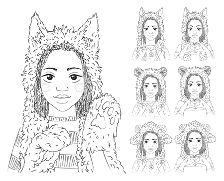 fur hood: Cute girl with african braids in different animal hats. Set. Illustration
