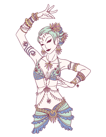Tribal Dancer or Indian Dancer Girl in Hand Drawn Style. Vetores