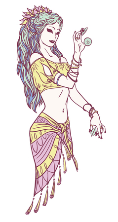 Tribal Dancer of Indian Dancer Girl in Hand Drawn Style. Stock Illustratie