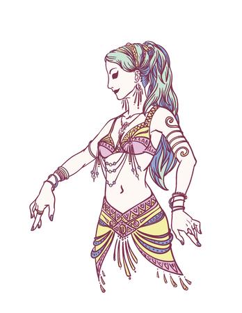 Tribal Dancer or Belly Dancer Girl in Hand Drawn Style. Vector Illustration for Your Design.
