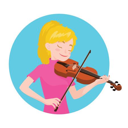 ミュージシャン演奏ヴァイオリン。少女のバイオリニストは、古典的な楽器を演奏するのに触発されて。