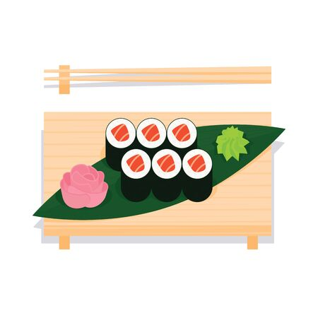 Maki sushi with salmon served on wooden board. Illustration