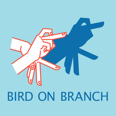 Shadow Theater. Hands gesture like bird on branch. Vector illustration of Shadow Hand Puppet.