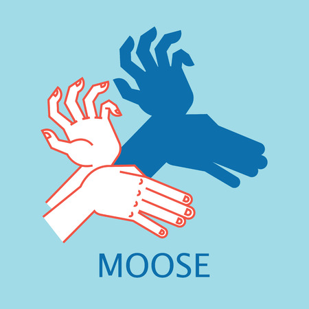 Shadow Theater. Hands gesture like Moose. Vector illustration of Shadow Hand Puppet. Illustration
