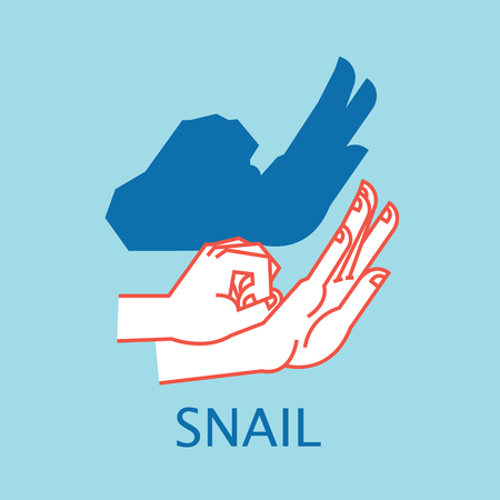 Shadow Theater. Hands gesture like Snail. Vector illustration of Shadow Hand Puppet.