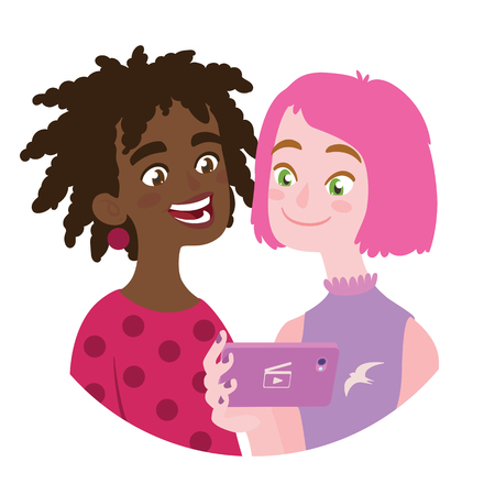Friend is sharing video to a friend. Vector illustration of friendship in flat cartoon style.