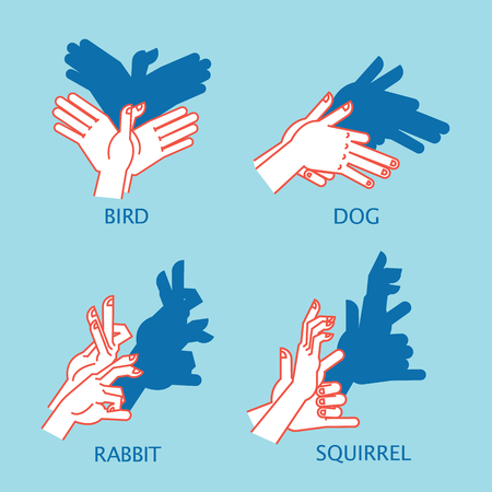 Shadow Theater. Hands gesture like flying bird. Vector illustration of Shadow Hand Puppet. Illustration
