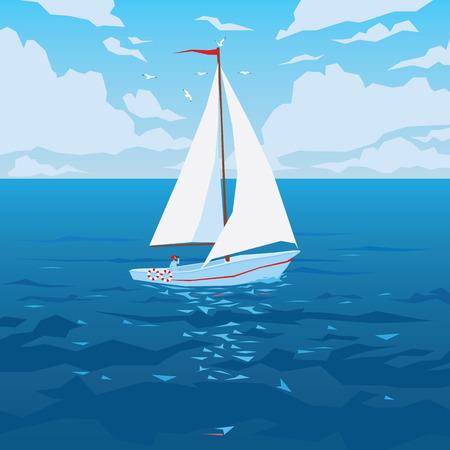 Barca bianca con vela e bandiera rossa. Vettoriali