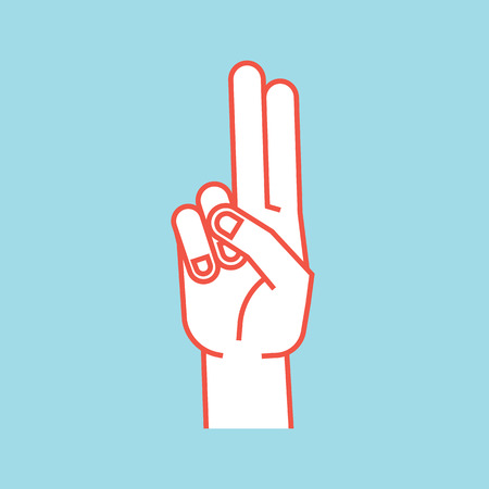 Gesture. Stylized hand with index and middle finger connect and up. Icon.