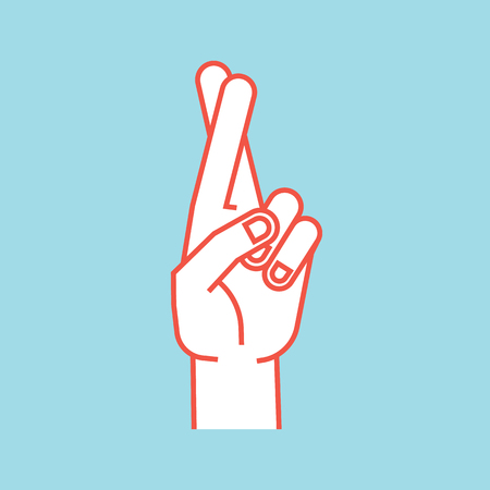 Gebaar. Lucky sign. Gestileerde hand met twee vingers gekruist. Wijsvinger aan de voorzijde.