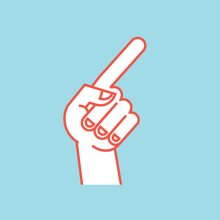 Gesture. Direction sign. Stylized hand with index finger up, thumb bent. Icon. Illustration
