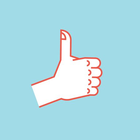 Gesture. Like sign. Stylized hand with thumbs up. Vector. Illustration