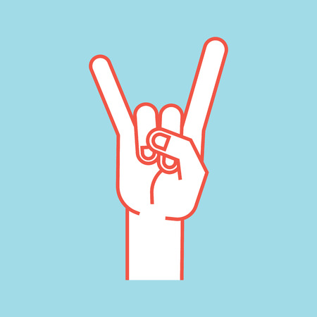 Gesture. Rock sign. Stylized hand with index and little finger up in form of horns.