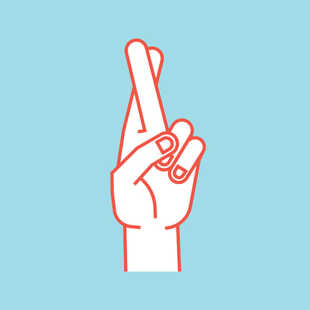 Gesture. Lucky sign. Stylized hand with two fingers crossed. Middle finger in the front. Icon.