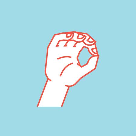 ジェスチャ。ゼロ。もう少し看板。様式化された手インデックスと親指の輪を作るします。アイコン。