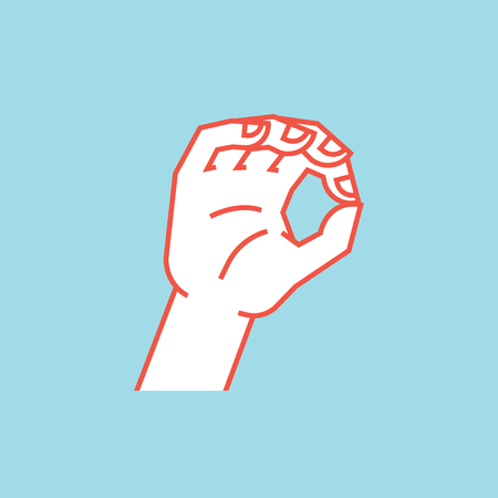 Gesture. Zero. A little bit sign. Stylized hand with index and thumb making circle. Icon.