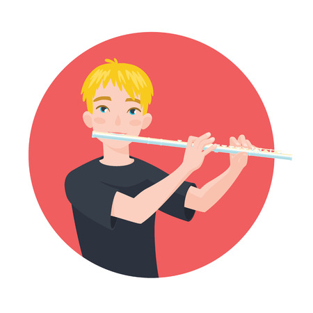 Musician playing flute.