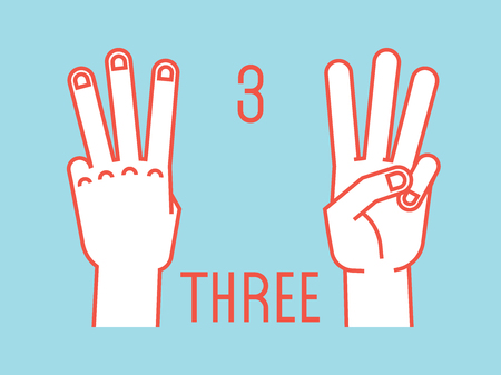 Count on fingers. Number three. Gesture. Stylized hands with index, middle and ring fingers up. Vector.