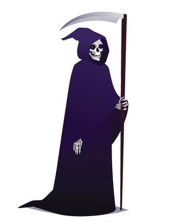 Grim Reaper sosteniendo a Scythe. Carácter de la muerte en la túnica oscura con capucha para fiesta de disfraces. Vector.
