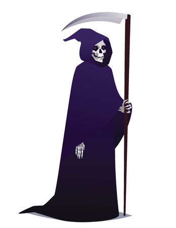 Grim Reaper holding Scythe. Death character in dark robe with hood going for Costume party. Vector. Vectores