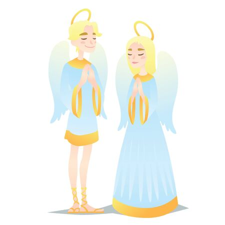 Angelic couple. Cute young boy and girl in style of Angels praying. Vector Illustration