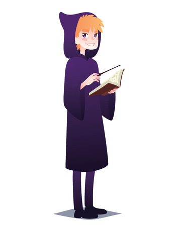 Wizard boy with book and magic stick. Cute young man in style of magician in robe with hood going for Halloween party. Vector Illustration