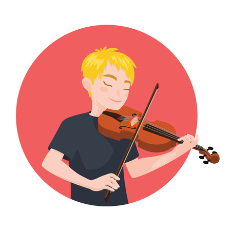 soloist: Musician playing violin. Boy violinist is inspired to play a classical musical instrument. Vector Illustration