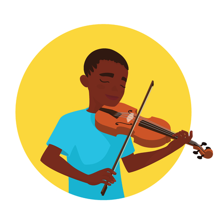 Musician playing violin. Boy violinist is inspired to play a classical musical instrument. Vector Illustration