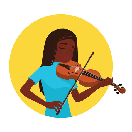 soloist: Musician playing violin. Girl violinist is inspired to play a classical musical instrument. Vector. Illustration