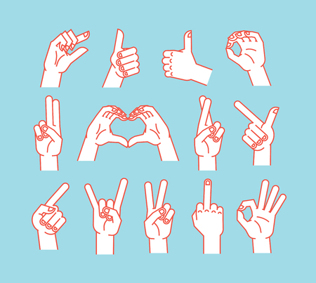 Gesture set. Stulized hands showing different signs. Vector illustration on blue background. Making signals by hands. Orange lines and white silhouette. Various interpretations. Icons. Illustration