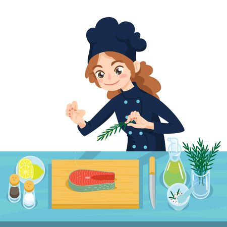 Happy young cook preparing salmon steaks on chopping board. Çizim