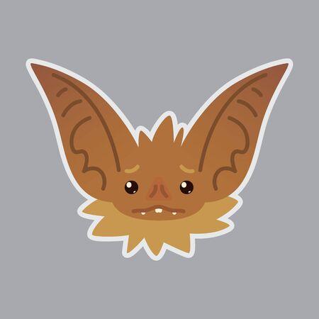 Bat head with sad emotion design. Illustration